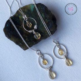 Citrine Silver Circles Healing Pendant Necklace